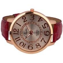 Women's watches Relogio feminino Saat Womens Fashion Numerals 2017 New Golden Dial Leather Analog Quartz Watch  for women