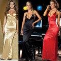 Bodycon Sexy Maxi Correa de Espagueti Backless Largo Vestidos de Satén De Seda Vestido de Deslizamiento Erótico Mujeres Sexy Vestidos de Partido Del Club de Noche Del Vestido
