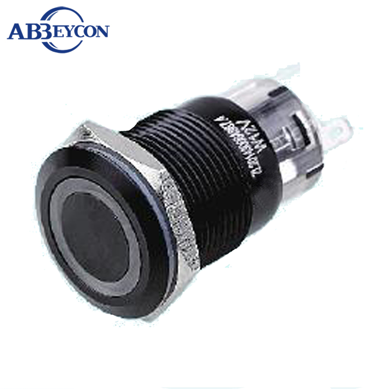 ABBEYCON Push Button Switch Black Aluminum Oxidation 19mm Momentary Metal Switch Ring Illuminated LED Light 1NO1NC