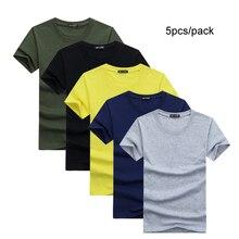 Футболка мужская Базовая однотонная, хлопок/спандекс, короткий рукав, Повседневная рубашка, черный желтый топ для подростков, 5 шт./лот, на лето