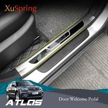 Geely Atlas Boyue Emgrand NL 3 양성자 X70 2018 2019 자동차 스커프 플레이트 도어 씰 트림 환영 페달 보호 스타일링 4 개/대/세트
