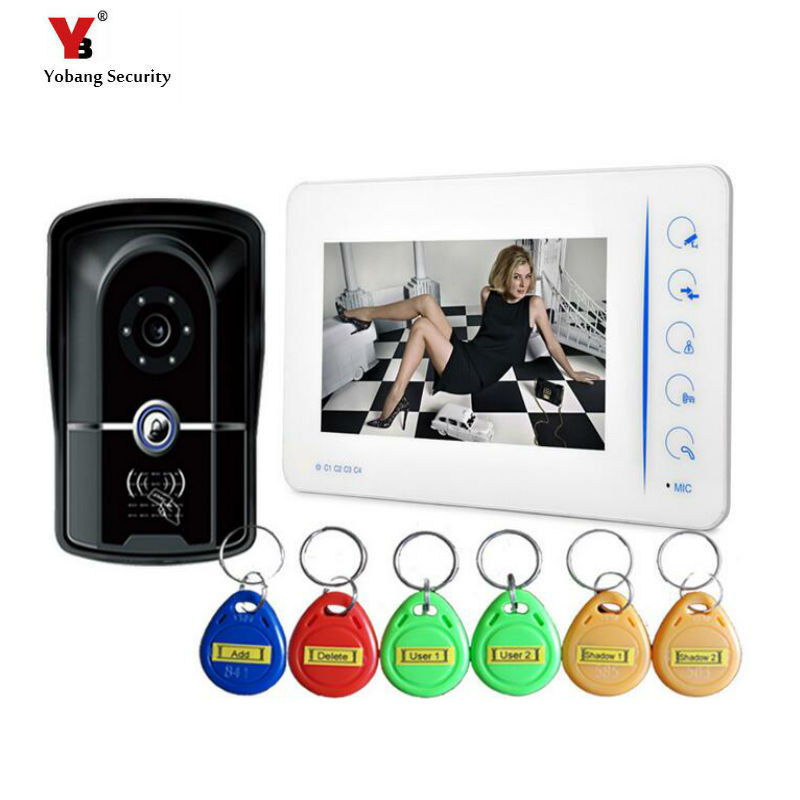 Yobang Security 7 inch Color Screen Doorbell video doorphone IR Door Camera with 5pcs RFID keyfobs 92 Degree Video intercom ir 92 2016 rxdz