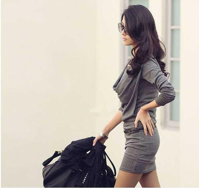 Мода Осень Мини платье для Для женщин с длинным рукавом Плиссированные пикантные офисные Бизнес платья Bodycon тонкий, Mujer