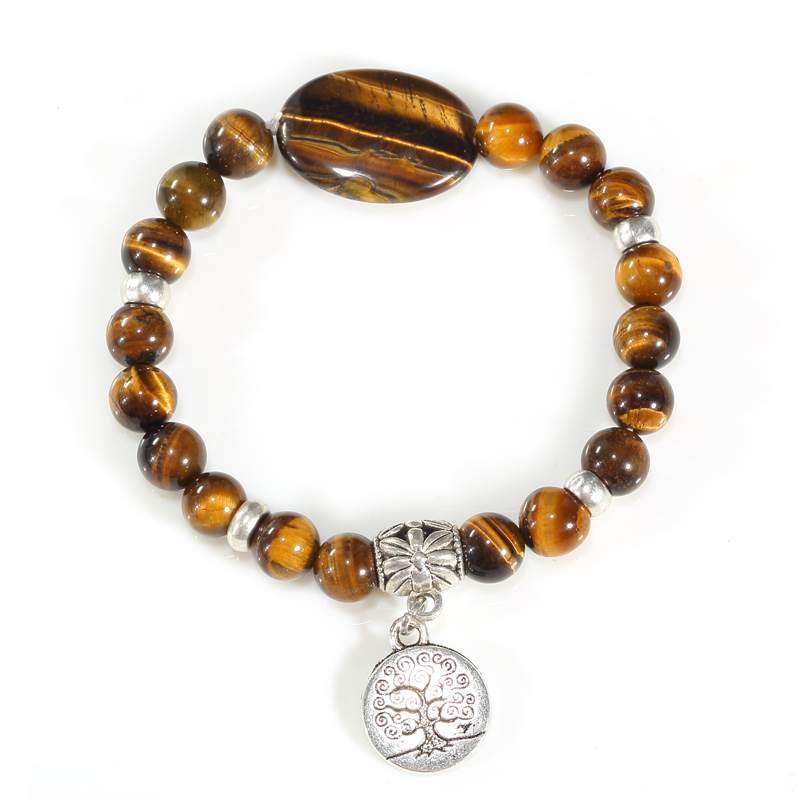 Beadztalk Stone Bead Bracelet Gift Yellow Tiger Eye Bead Jewelry Silver Charm Bracelet For Him Gift Elastic Bracelet