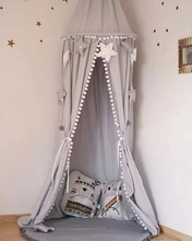 baby Nordic Style Playroom Decor Canopy White Pink Grey Hanging Bed with Ball Tassel Photo Prop Princess Room
