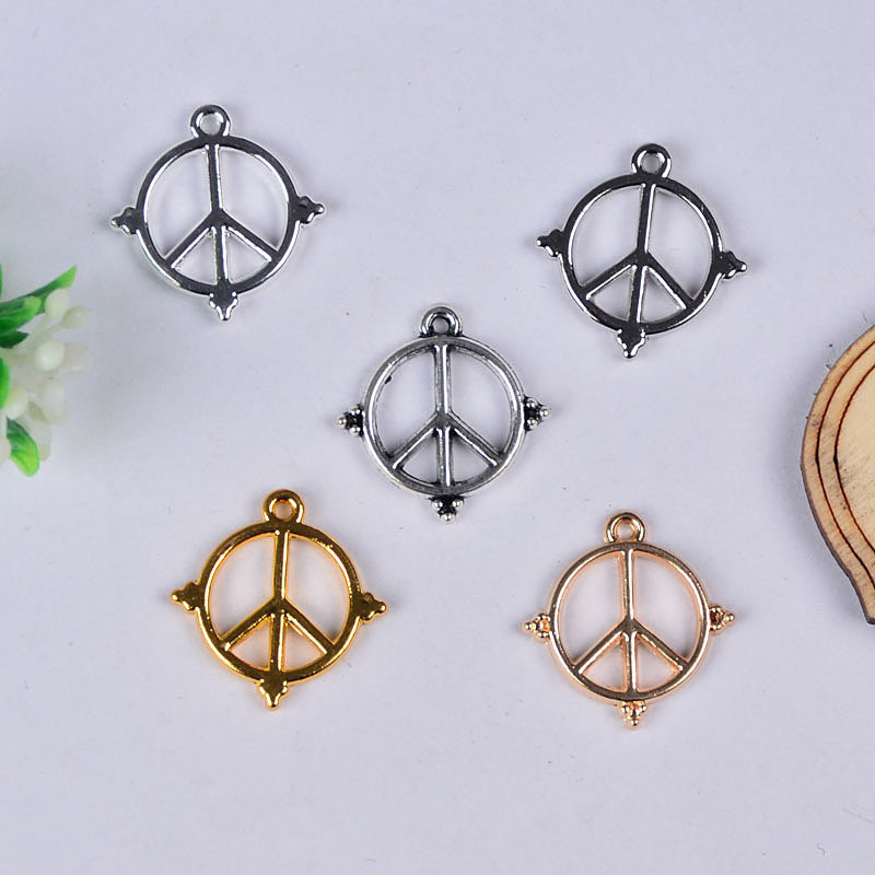 Hot Selling 50pcs/lot Zinc Alloy Gold/Silver Plated Peace Sign Charms Pendants DIY Jewelry Making 18*17.5mm