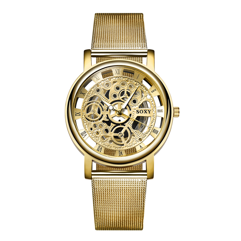 SOXY Fashion Skeleton Watch Men Watch Luxury Gold Watch Steel Mesh Mens Watches Hour montre homme