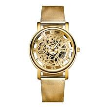 Soxy reloj esquelético del reloj de los hombres reloj de oro de lujo de malla de acero para hombre relojes horas relogio masculino montre homme reloj hombre
