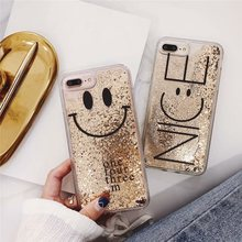 Tfshining Cute Glitter Dynamic Liquid Phone Case For iphone X XS Max XR 7 8 6 6S Plus Quicksand Smile Bling Gold Foil Cover