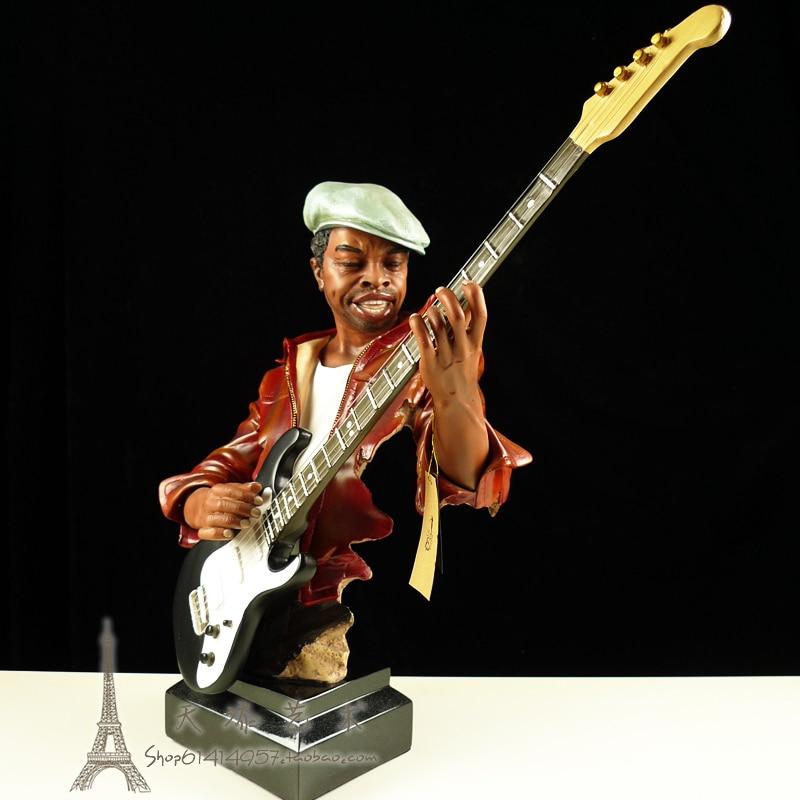 Temple peint américain célèbre Jazz bande guitariste Figurine résine musique guitare joueur Statue artisanat ornement décoration de la maison cadeau