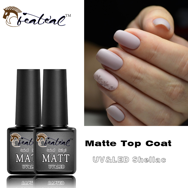 Us 0 89 Matte Top Coat Gel Nail Polish Design Base Coat No Sticky Layer Uv Led Lucky Soak Off Transparent Color Mat Nail Gel Rubber Top In Nail Gel