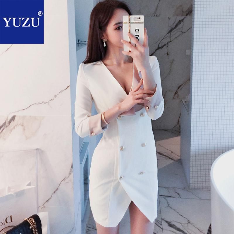 Hot Sale Suit Dress Women Office Wear White Double Breasted Pink