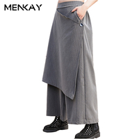 MENKAY Wide Leg Pants Spring 2018 New Loose Large Size Elastic Waist Striped Women Casual