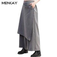 MENKAY Wide Leg Pants Spring 2018 New Loose Large Size Elastic Waist Striped Women Casual