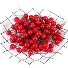 100pcs Artificial Holly Berry Mini Pearl Plastic Stamens Cherry Flowers Fruit Wedding Decoration