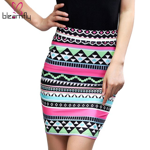 Pencil Skirt Summer American apparel jupe femme Bodycon women skirts womens striped floral high waist slim vintage clothing