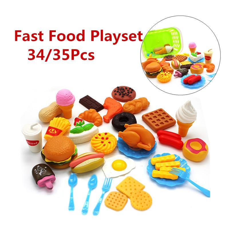 35pcs/set Plastic Fast Food Playset Mini Hamburg French Fries Hot Dog Toy for Children Pretend Play Gift Kids