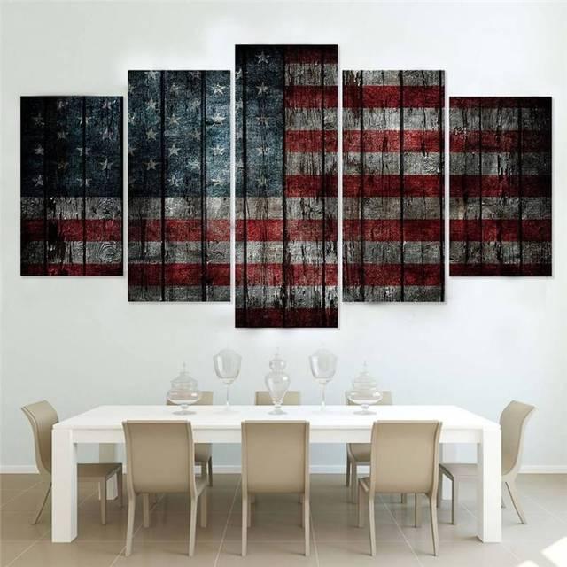 Leinwand Malerei Abstrakte Wand Kunst Wohnkultur Für Wohnzimmer 5 Stücke  Vintage Amerikanische Flagge Poster