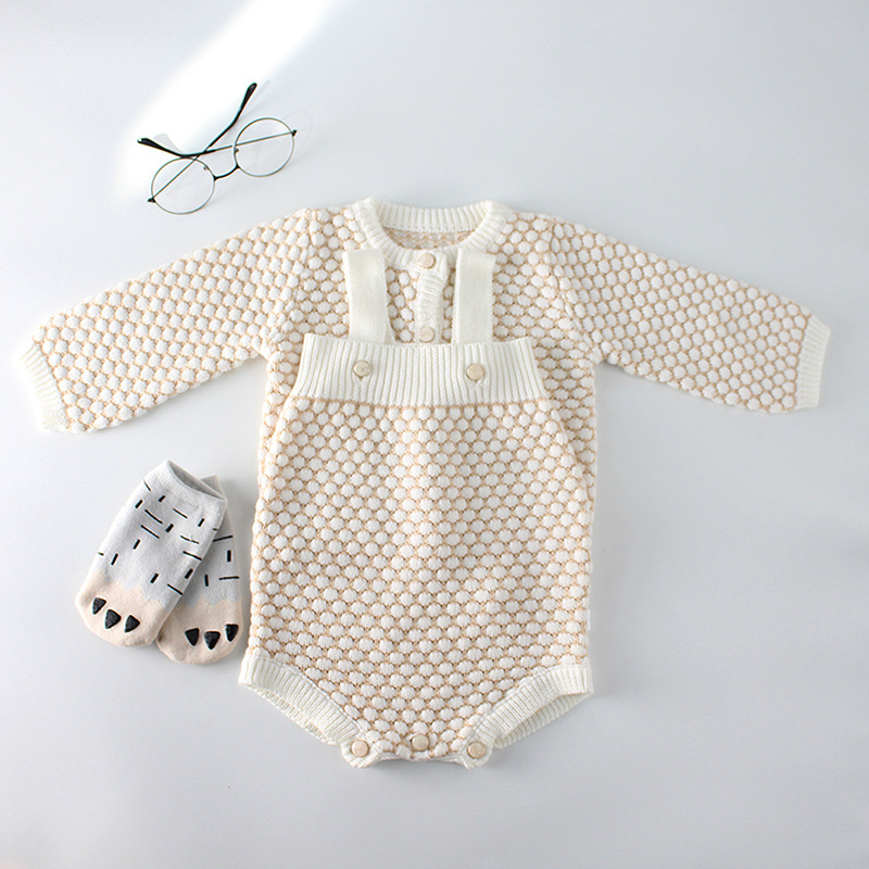 Everweekend Child Women Crochet Jackets Rompers Sweet Beige White Coloration Candy Toddler Children Vogue Clothes Clothes Units, Low-cost Clothes Units, Everweekend Child Women Crochet Jackets Rompers Sweet Beige White...