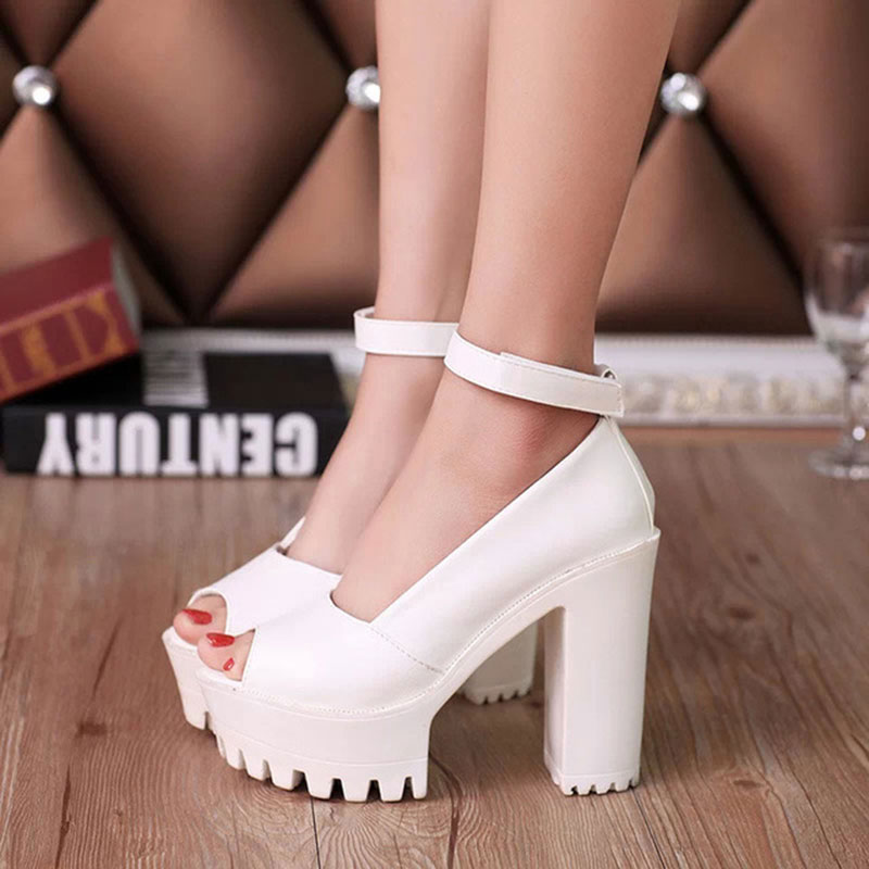 Women Sandals 2018 new fashion sexy fish head sandals women shoes solid color hook&loop pu high heels summer shoes woman women shoes sandals 2018 new arrivals bowtie fashion summer women fish head sandals