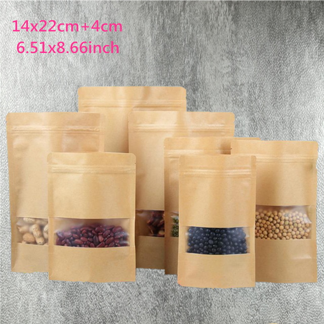 14 22cm 5 51 8 66 50pc Lot New Kraft Paper Bag Zip Lock Bags For