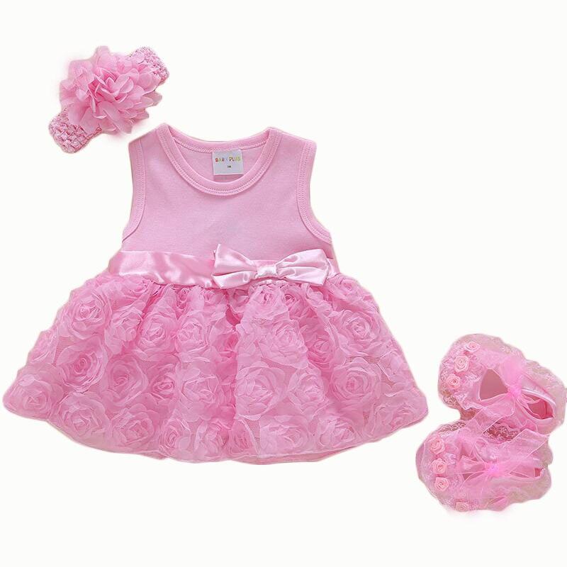 Baby girls clothes Newborn summer dress bow Tutu rose Cute princess dress birthday party dress baby headband+shoes Set de Bebe
