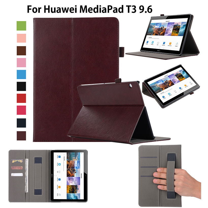 Case For Huawei MediaPad T3 10 AGS-L09 AGS-L03 9.6 inch Cover Funda Tablet Luxury Business Leather Hand Belt Holder Stand Shell free shipping 3in1 10 1 inch luxury kit stand case crocodile leather cover for huawei mediapad 10 fhd 10 link capa funda