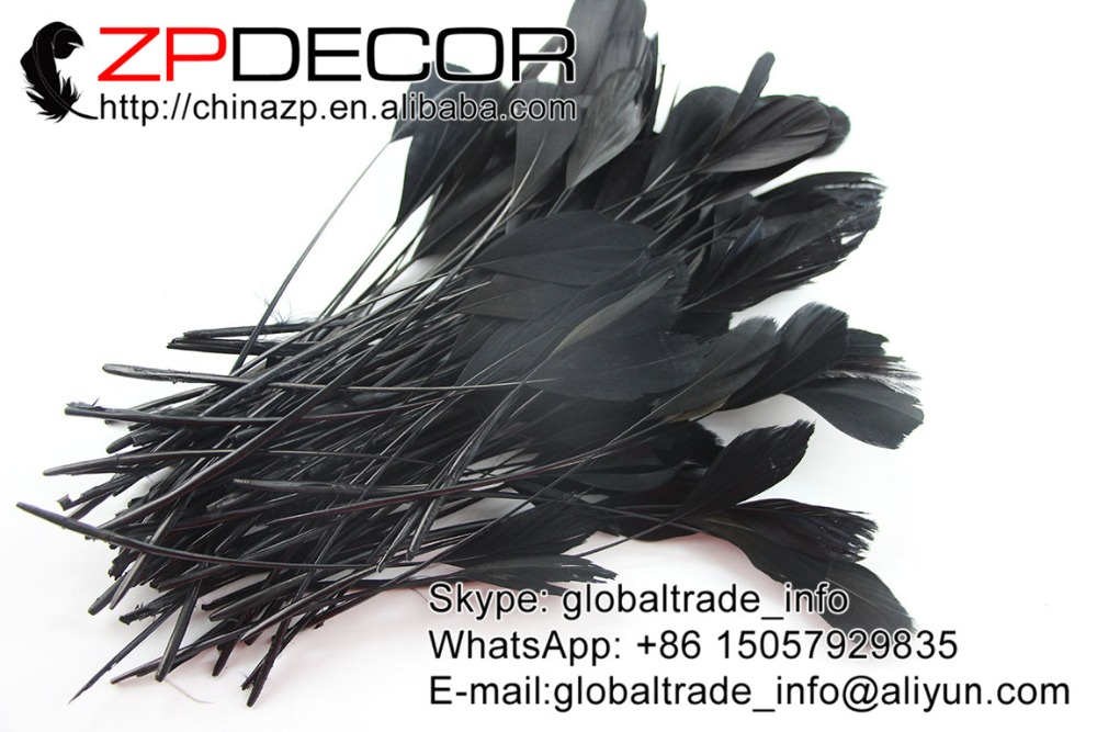 ZPDECOR 200pcs/lot 15-20 cm(6-8inch) Premium Black Dyed Stripped Goose Tail Feathers For Party Costume Accessor Of Multi-color