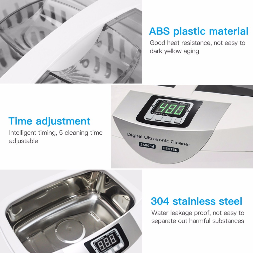 Digital Ultrasonic Cleaner  Baskets Jewelry Watches Dental 2.5L 60W 40kHz Heating Ultrasound Ultrasonic Vegetable Cleaner Bath