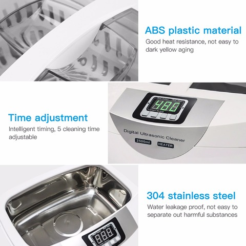Digital Ultrasonic Cleaner  Baskets Jewelry Watches Dental 2.5L 60W 40kHz Heating Ultrasound Ultrasonic Vegetable Cleaner Bath Islamabad