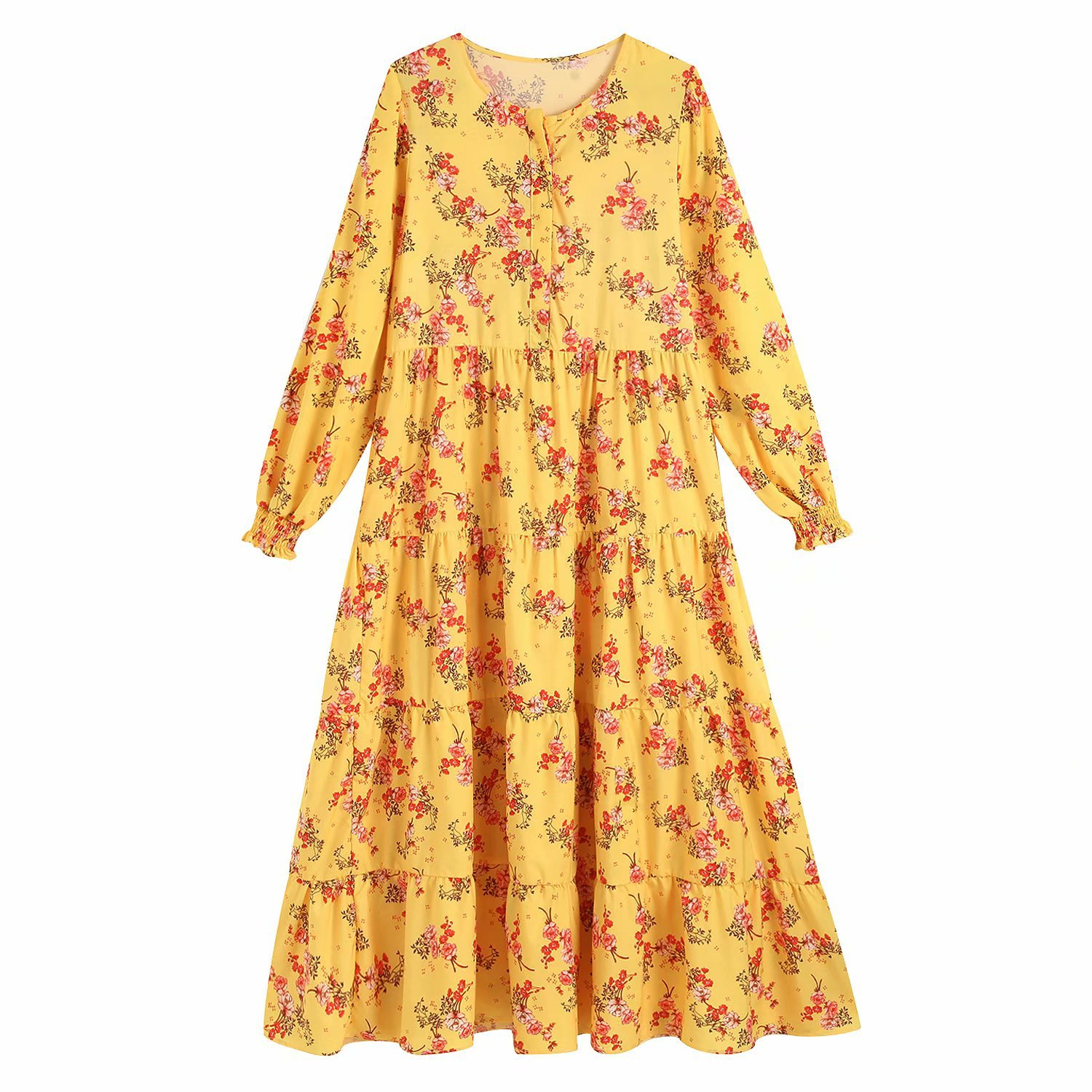 Women Vintage Floral Print O Neck Chic Maxi Dress Boho Female Long Sleeve Stylish Chic Ankle Length Dresses Vestidos