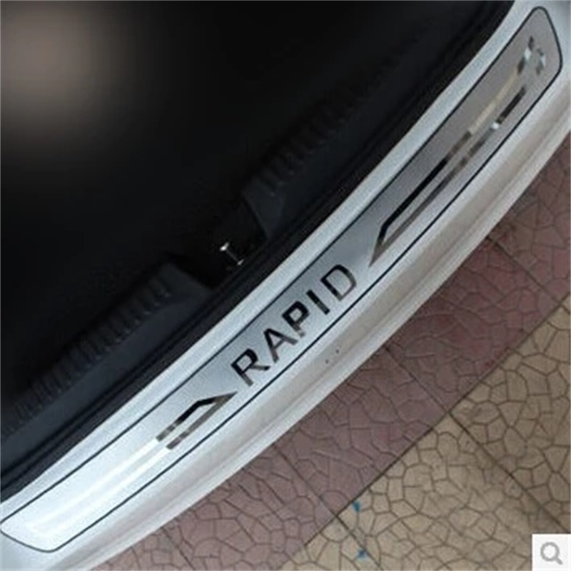 FOR Skoda Rapid 2012 2013 2014 2015 REAR BUMPER PROTECTOR STEP PANEL BOOT COVER SILL PLATE TRUNK TRIM Car-Styling ACCESSORIES car auto accessories rear trunk molding lid cover trim rear trunk trim for nissan sunny versa 2011 abs chrome 1pc per set