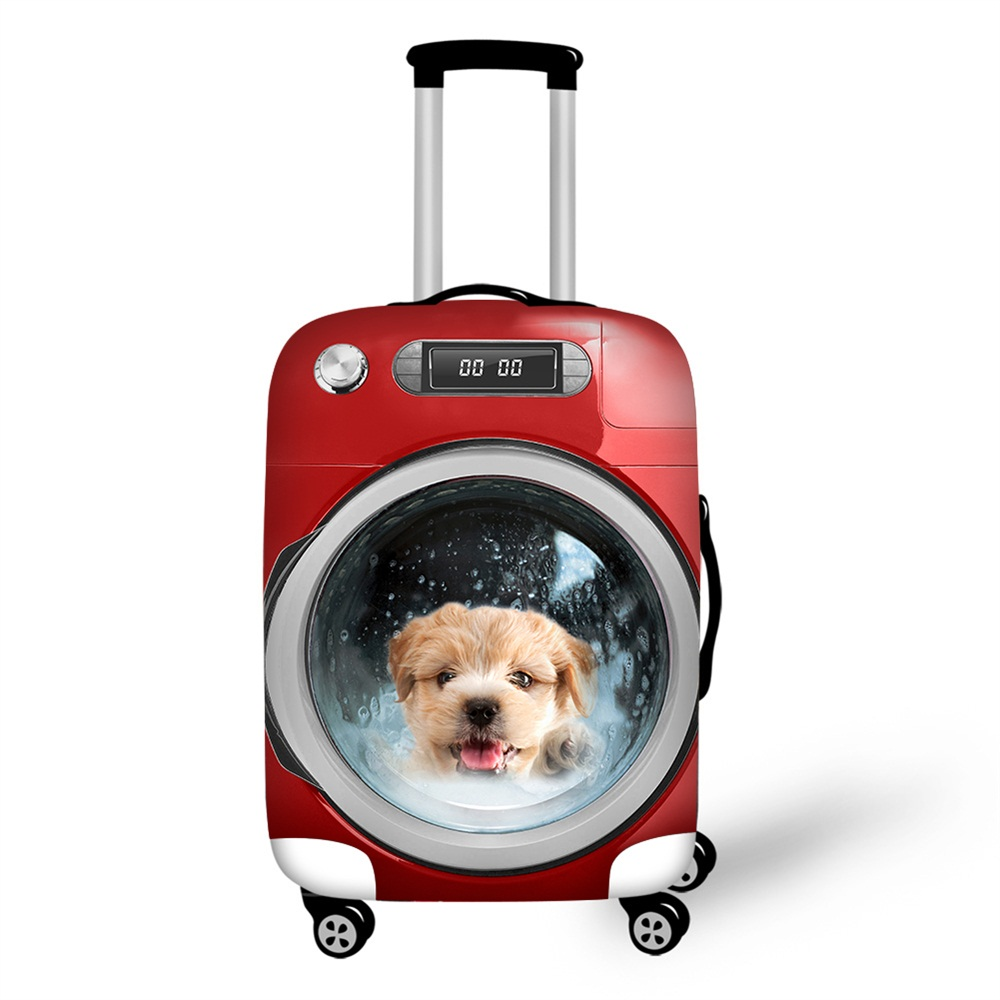 Luggage Protective Case Cute Cat Dog Animal Waterproof Cover For 18-30 Inch Trolley Suitcase Elastic Travel Rain Covers