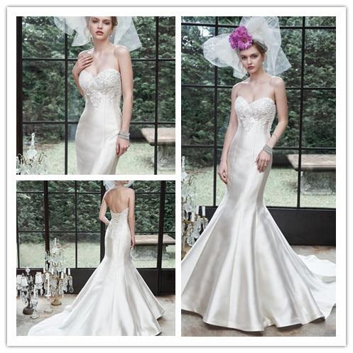 e387507daedb1 Avant-garde Floor length Fishtail Corset Back Sweetheart Neckline Crystals  Lace On Satin Mermaid Wedding Dresses Bridal Gown