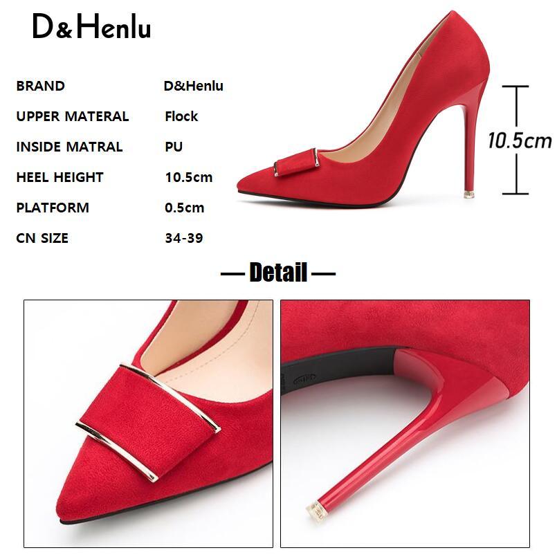 Moda Sexy Mujeres {d Fiesta Apricot Black heels Tacones Para amp; Gray Oficina Henlu} Hebilla Negros Bombas Zapatos Rojo heels heels Red Altos Mujer De Heels vZ8qv