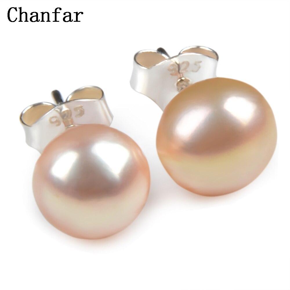 1d27f98c343d Rosa blanco Real naturaleza perlas de agua dulce pendientes de plata de ley  925 del perno prisionero para las mujeres joyas de perlas 8mm