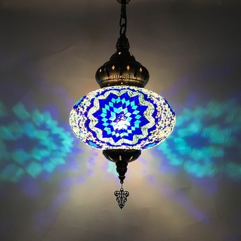 Big size Nieuwe styte Turkije etnische douane handgemaakte lamp romantische cafe restaurant bar boom hanglamp bar Mozaïek Hanger lamp