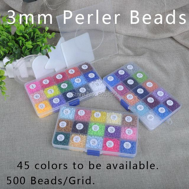 Jigsaw EVA Mini 3mm Hama/Fuse/Perler Beads 22500 Beads/3Boxes 5PCS Pegboards 45 Colors 100% Quality Guarantee Hand-Made Activity
