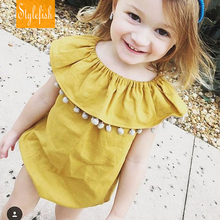 2016 New female baby Children Siamese Romper Summer Cotton Hairball Flounced collar Triangle Climbing Clothes