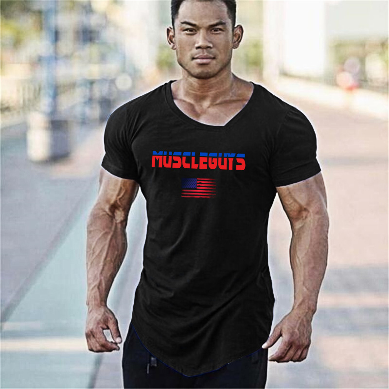 Muscleguys Brand Sporting short sleeve Fitness T Shirt Bodybuilding Clothing fit Compression Shirt Men gyms T
