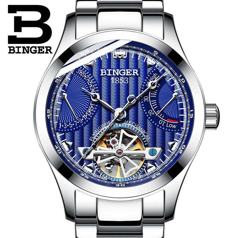 все цены на Genuine Luxury BINGER Brand men automatic mechanical self-wind sapphire watches calendar waterproof full steel hollow