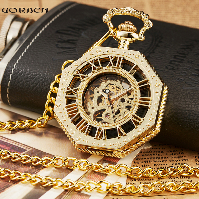 Retro Unique Octagon Roman Numeral Steampunk Pocket Watch with FOB Chain Full St