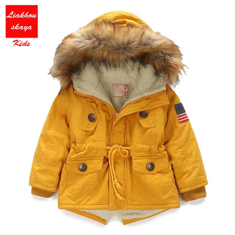 e65553aa0 ... 4-13Y Boys Winter Warm Coat And Jacket 2017 Autumn Winter Korean Boys  USA Flag ...
