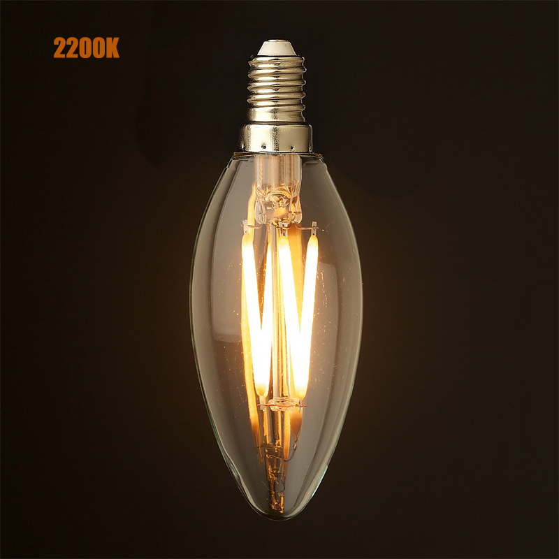 2w 4wled filament light bulbchandelier candle stylee12 e14 base 2w 4wled filament light bulbchandelier candle stylee12 e14 basewarm yellow2200k110v 220vacretro decorative lamp in led bulbs tubes from lights aloadofball Image collections