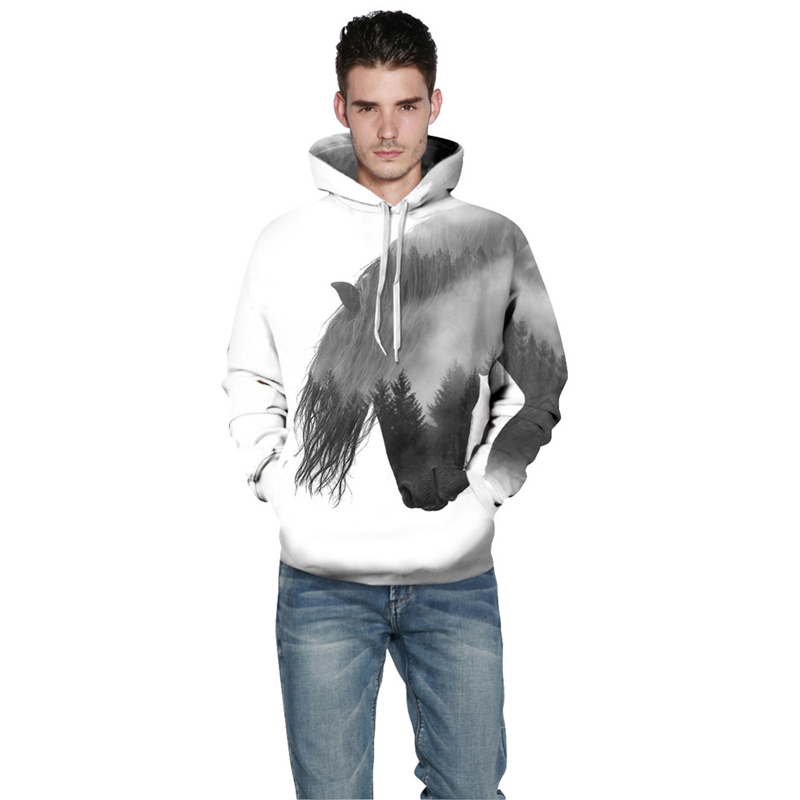 3db3bf3316b9 Animal Pullover Tracksuit Mens Hoodies 3D Print Forest Tree Swift Horse  Casual Tops With Cap White Hooded Sweatshirt Men Women