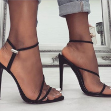 купить Summer Women Sandals Flock Buckle Strap Thin Heels 12CM High Heels Pumps Lady Sandal woman Shoes дешево