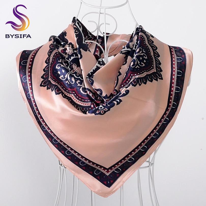 [BYSIFA] Ladies Khaki Satin   Scarves     Wraps   Autumn Winter Fashion Brand Silk Square   Scarf   Shawl 90*90cm Turkey Headscarf Lencos