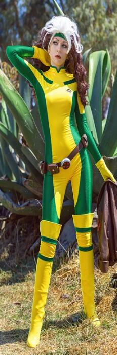 X-Men Rogue Cosplay Costume Lycra Elastic Sexy Catsuit Marvel Superhero Halloween Costume