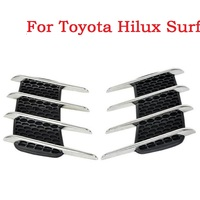 Shark gills realistic outlet decoration side draught hood vents air intake engine cover modified sticker For Toyota Hilux Surf