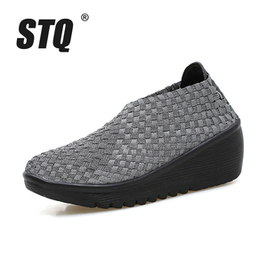 Image 2 - Stq 2020 Herfst Vrouwen Platform Sneakers Schoenen Vrouwen Geweven Platte Schoenen Dikke Hak Gladiator Sandalen Slip Op Platform Schoenen 866